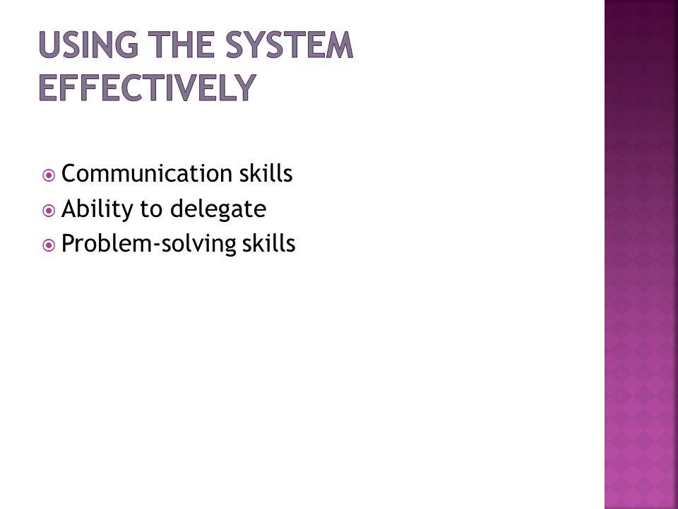 Communication skills Ability to delegate Problem-solving skills