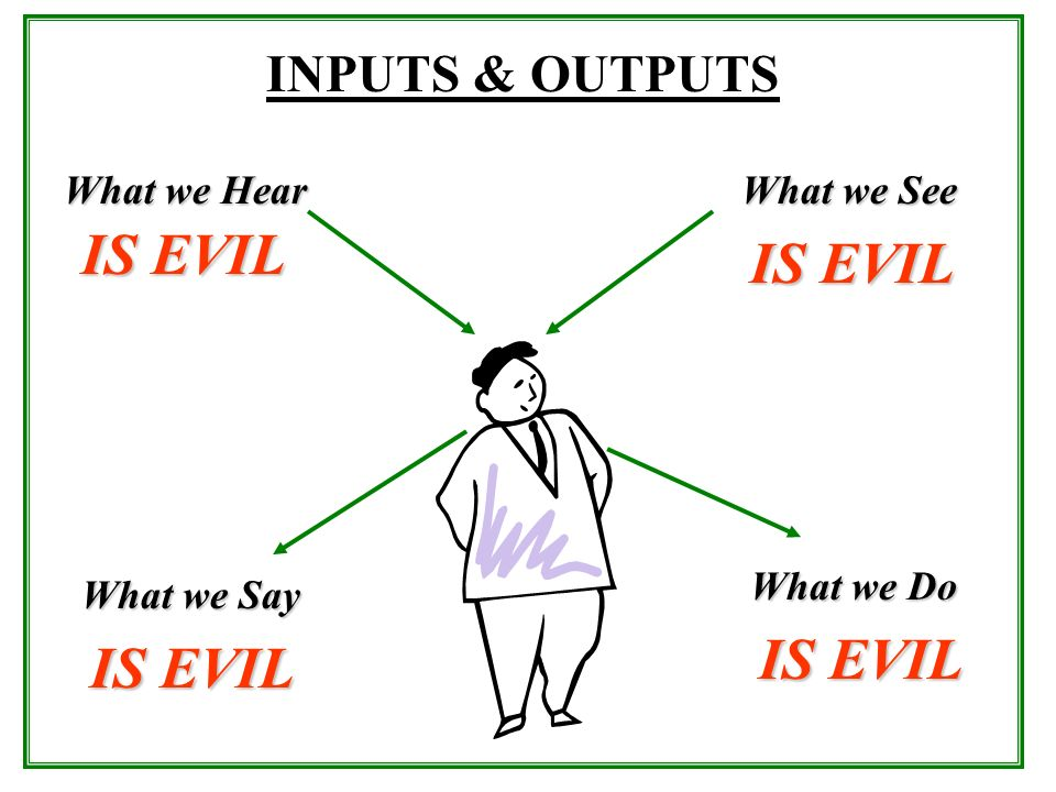 What we Hear What we See INPUTS & OUTPUTS What we Say What we Do IS EVIL