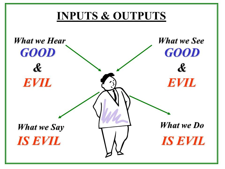 What we Hear What we See INPUTS & OUTPUTS What we Say What we Do GOOD&EVILGOOD&EVIL IS EVIL