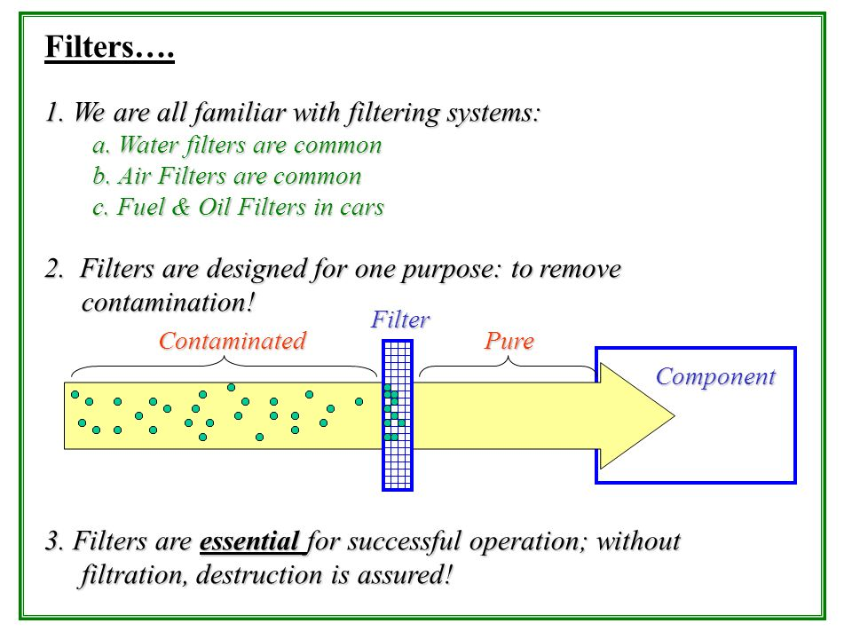 Filters…. 1. We are all familiar with filtering systems: a. Water filters are common b. Air Filters are common c. Fuel & Oil Filters in cars 2. Filter