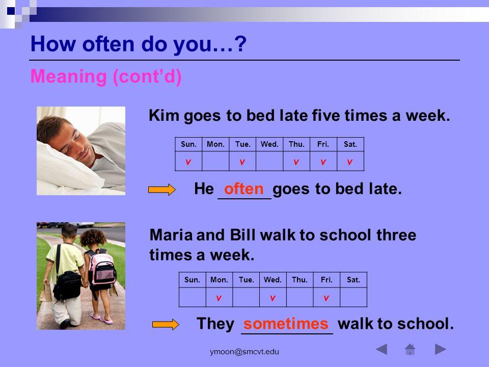 ymoon@smcvt.edu How often do you…? Any Questions?