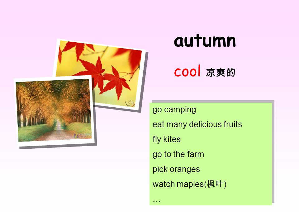 autumn cool go camping eat many delicious fruits fly kites go to the farm pick oranges watch maples( ) … go camping eat many delicious fruits fly kite