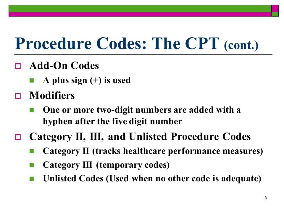 18 Add-On Codes A plus sign (+) is used Modifiers One or more two-digit numbers are added with a hyphen after the five digit number Category II, III, and Unlisted Procedure Codes Category II (tracks healthcare performance measures) Category III (temporary codes) Unlisted Codes (Used when no other code is adequate) Procedure Codes: The CPT (cont.)