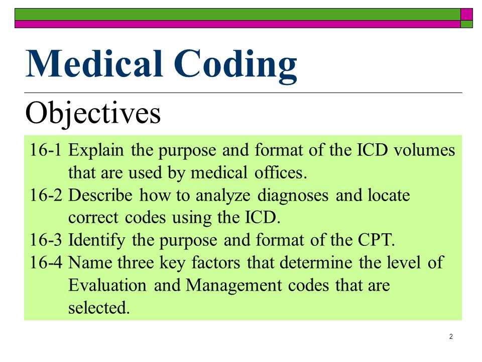 2 Medical Coding Objectives 16-1 Explain the purpose and format of the ICD volumes that are used by medical offices.