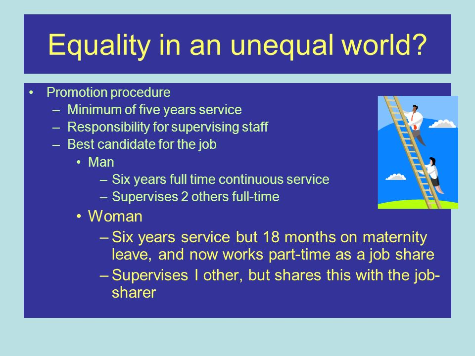 Equality in an unequal world? Promotion procedure –Minimum of five years service –Responsibility for supervising staff –Best candidate for the job Man