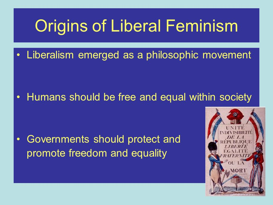 Origins of Liberal Feminism Liberalism emerged as a philosophic movement Humans should be free and equal within society Governments should protect and