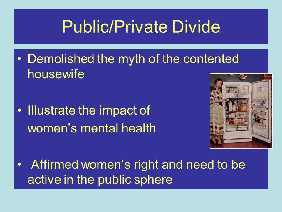 Public/Private Divide Demolished the myth of the contented housewife Illustrate the impact of womens mental health Affirmed womens right and need to b
