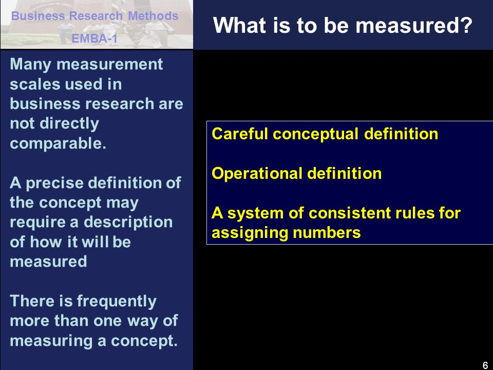 Business Research Methods EMBA-1 27 Physiological Measure of Attitude How important were the following in your decision to visit Bandarbaan (check one for each item) VERYSOMEWHATNOT TOO IMPORTANTIMPORTANTIMPORTANT CLIMATE_________________________________ COST OF TRAVEL_________________________________ FAMILY ORIENTED_________________________________ EDUCATIONAL/ HISTORICAL ASPECTS _______________________________ FAMILIARITY WITH AREA_________________________________ n A category scale is a more sensitive measure than a scale having only two response categories - it provides more information.