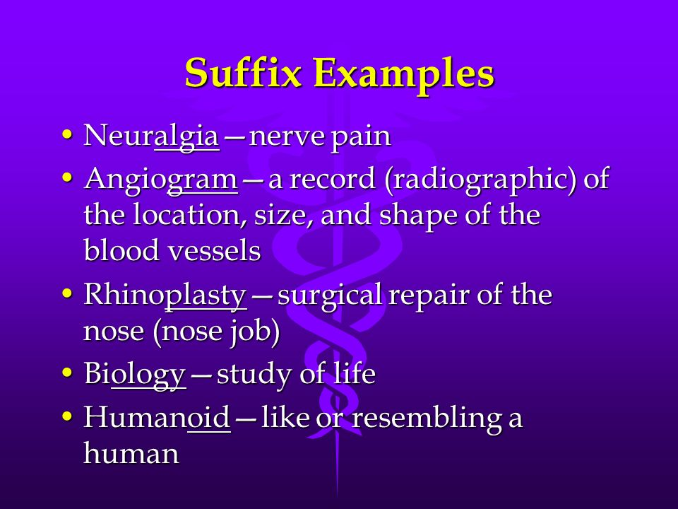Suffix Examples Neuralgianerve painNeuralgianerve pain Angiograma record (radiographic) of the location, size, and shape of the blood vesselsAngiogram