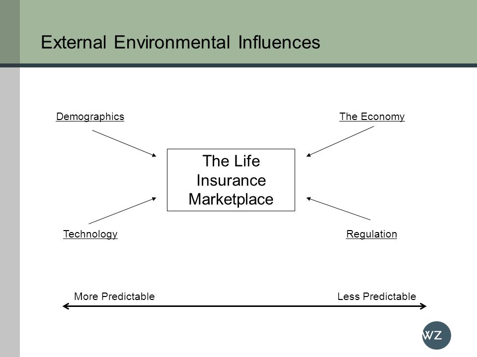 External Environmental Influences The Life Insurance Marketplace More PredictableLess Predictable Demographics TechnologyRegulation The Economy