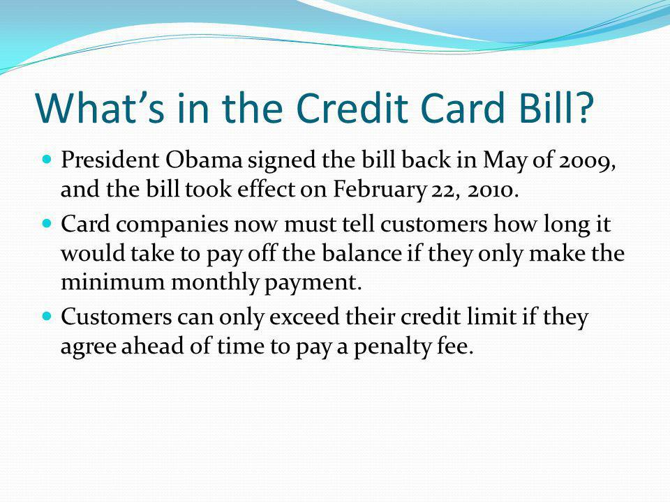 Whats in the Credit Card Bill.