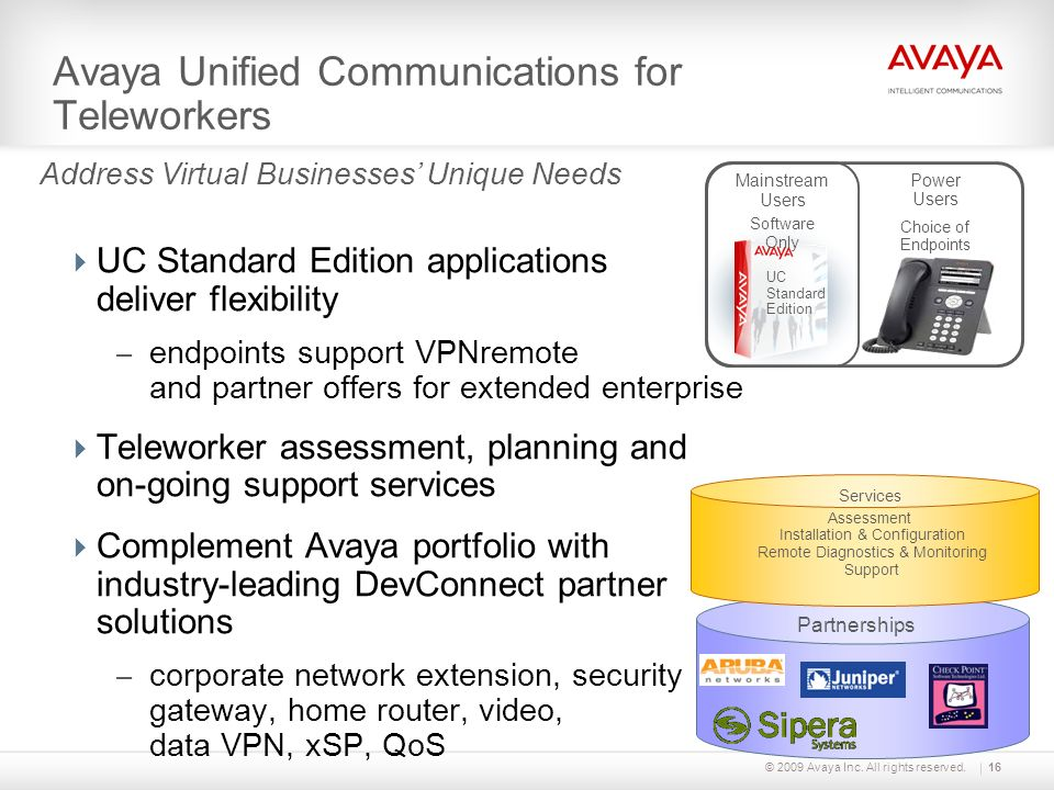 Avaya Unified Communications for Teleworkers © 2009 Avaya Inc. All rights reserved.16 Address Virtual Businesses Unique Needs UC Standard Edition appl