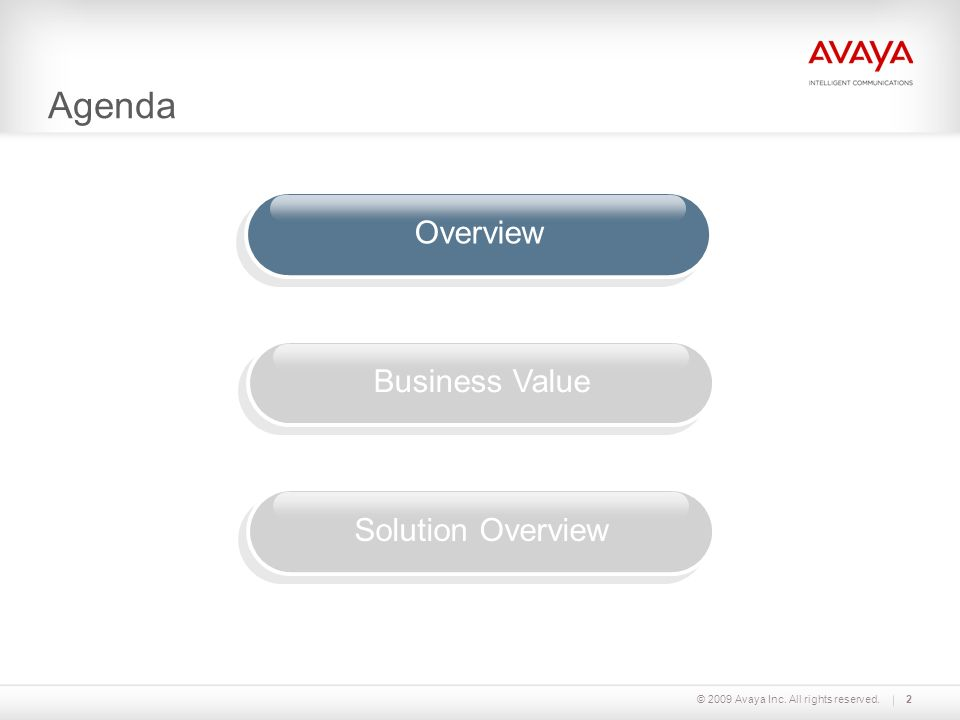 Agenda © 2009 Avaya Inc. All rights reserved.2 OverviewBusiness ValueSolution Overview
