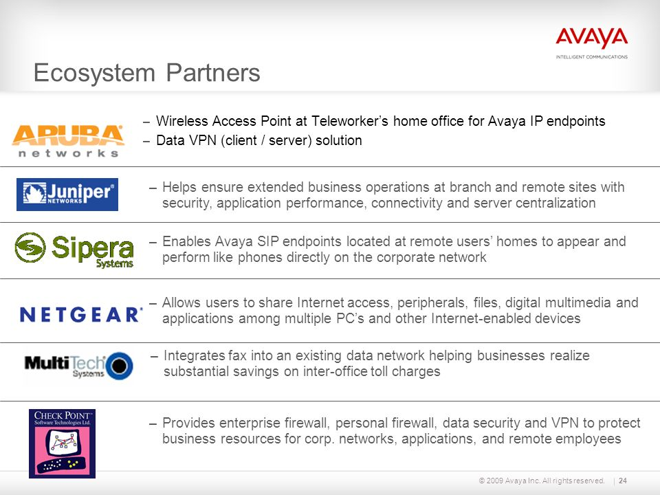 Ecosystem Partners © 2009 Avaya Inc. All rights reserved.24 – Wireless Access Point at Teleworkers home office for Avaya IP endpoints – Data VPN (clie