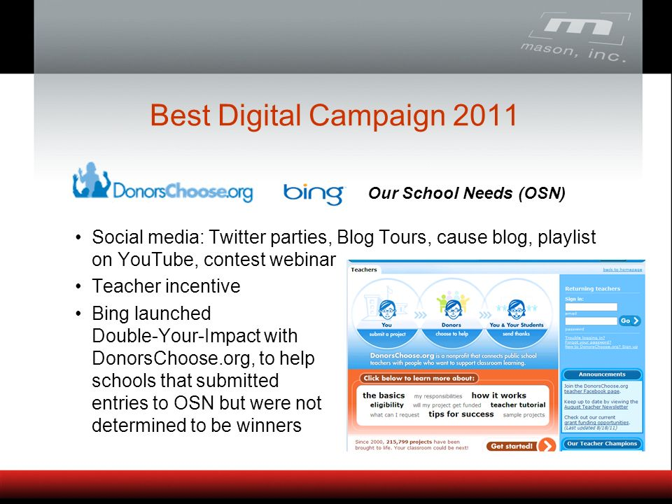 Social media: Twitter parties, Blog Tours, cause blog, playlist on YouTube, contest webinar Teacher incentive Bing launched Double-Your-Impact with DonorsChoose.org, to help schools that submitted entries to OSN but were not determined to be winners Best Digital Campaign 2011 Our School Needs (OSN)