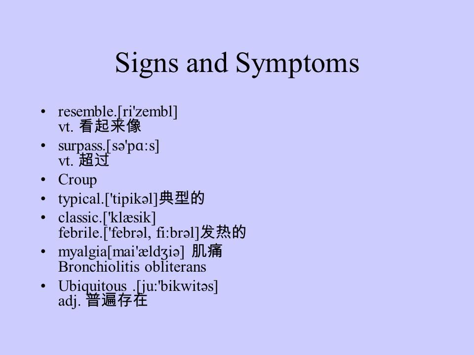 Signs and Symptoms resemble.[ri zembl] vt. surpass.[sə p ɑ :s] vt.