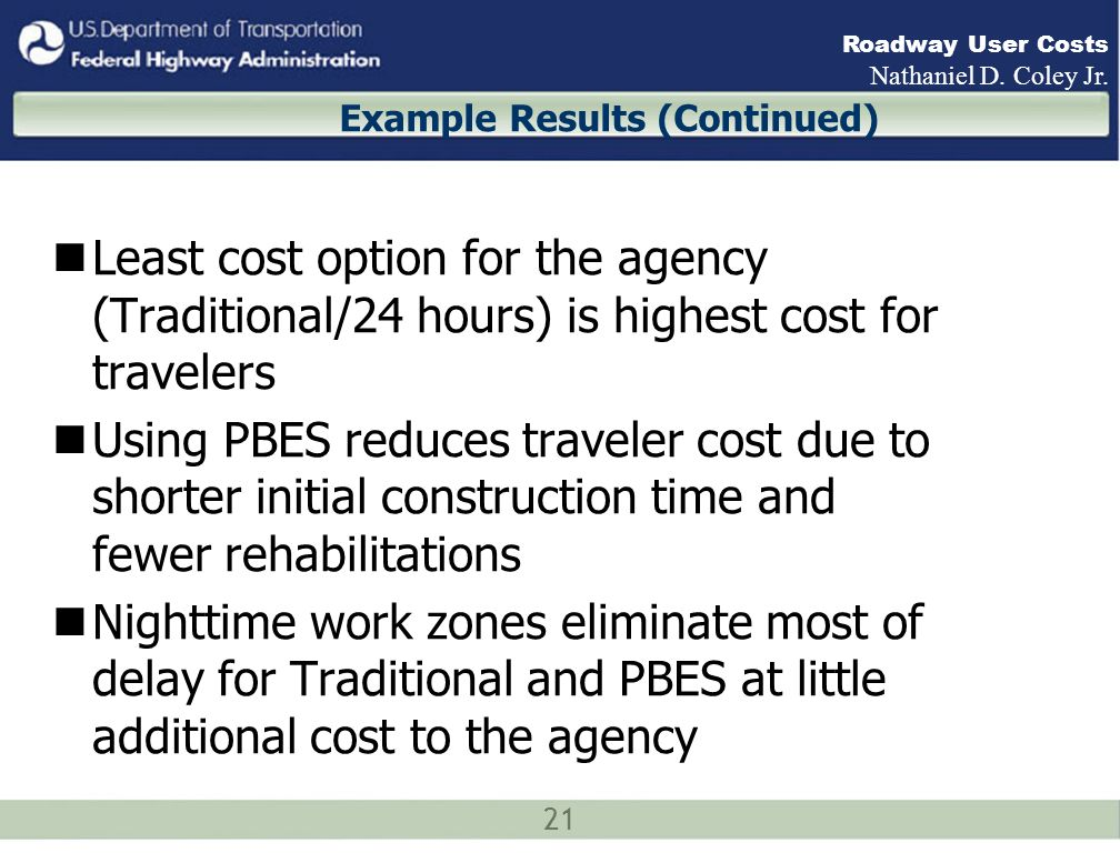 21 Roadway User Costs Nathaniel D. Coley Jr.