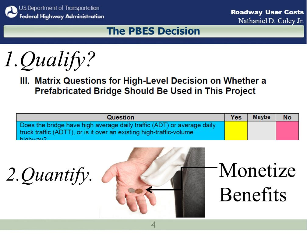 4 Roadway User Costs Nathaniel D. Coley Jr. The PBES Decision 1.Qualify? 2.Quantify. Monetize Benefits