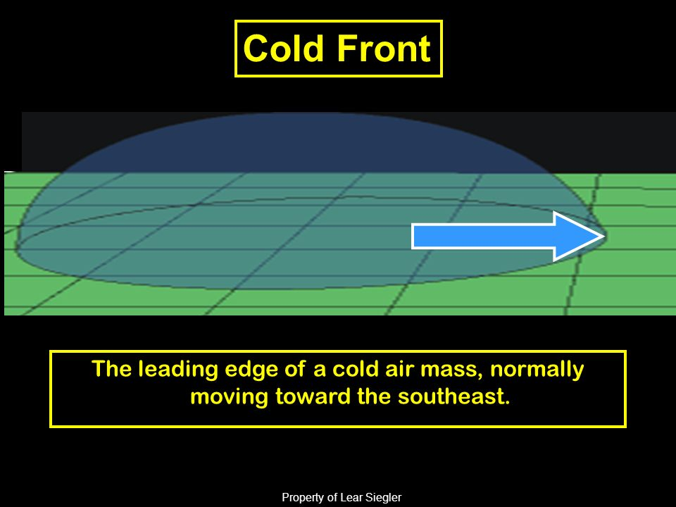 Cold Front The leading edge of a cold air mass, normally moving toward the southeast.