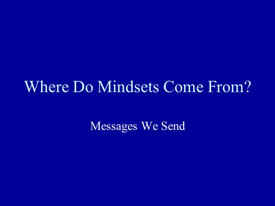 Where Do Mindsets Come From? Messages We Send
