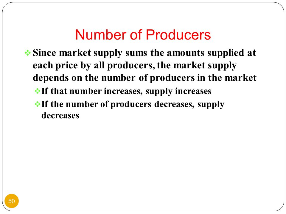 Since market supply sums the amounts supplied at each price by all producers, the market supply depends on the number of producers in the market If th