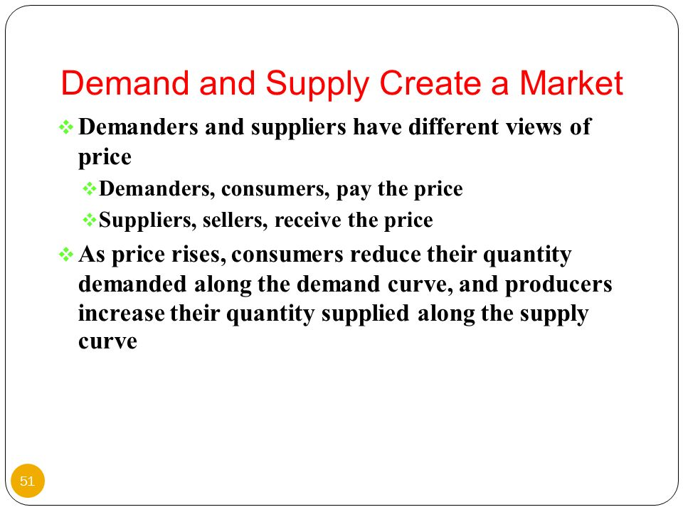 Demanders and suppliers have different views of price Demanders, consumers, pay the price Suppliers, sellers, receive the price As price rises, consum