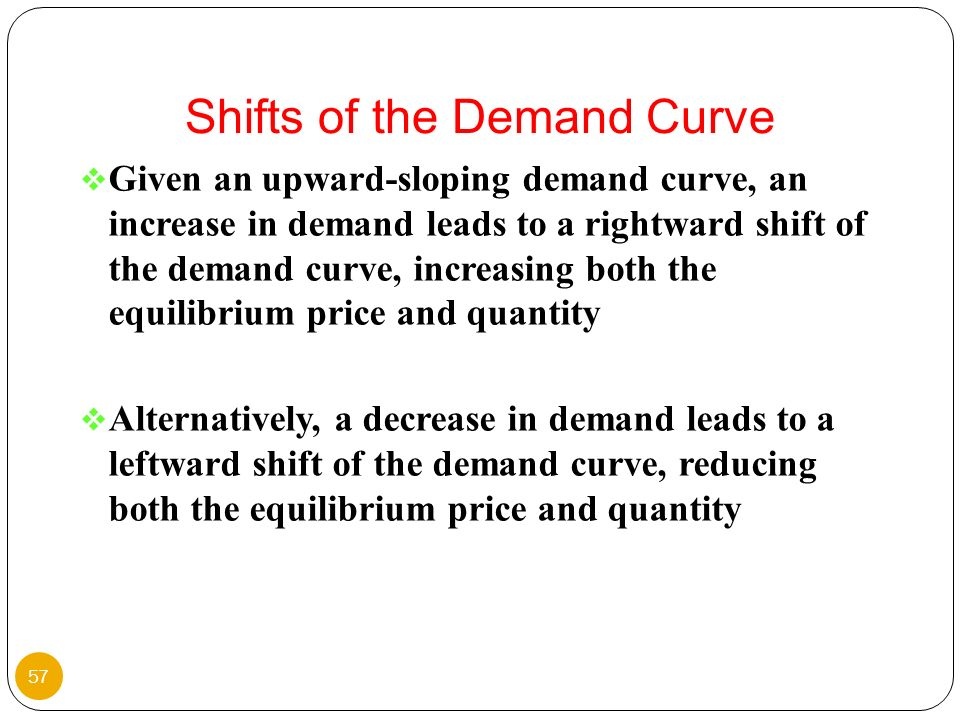 Given an upward-sloping demand curve, an increase in demand leads to a rightward shift of the demand curve, increasing both the equilibrium price and