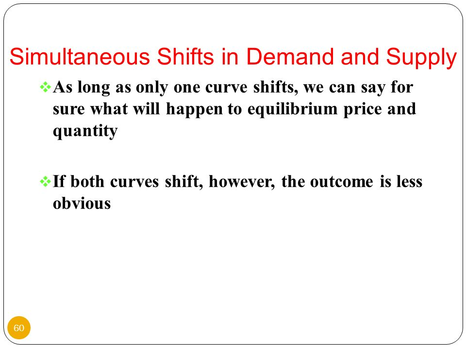 As long as only one curve shifts, we can say for sure what will happen to equilibrium price and quantity If both curves shift, however, the outcome is