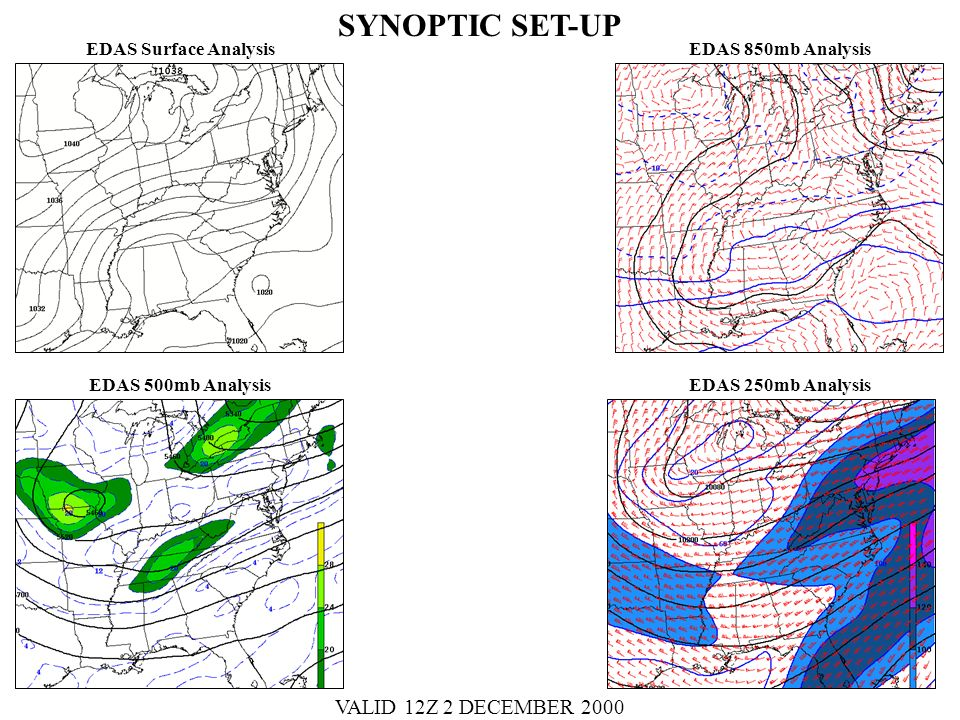 EDAS Surface Analysis EDAS 500mb Analysis EDAS 850mb Analysis EDAS 250mb Analysis SYNOPTIC SET-UP VALID 12Z 2 DECEMBER 2000