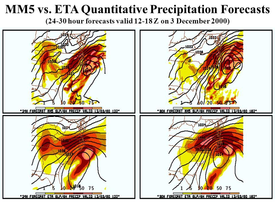 Insert MM5 24h Forecast here MM5 vs. ETA Quantitative Precipitation Forecasts (24-30 hour forecasts valid 12-18 Z on 3 December 2000)