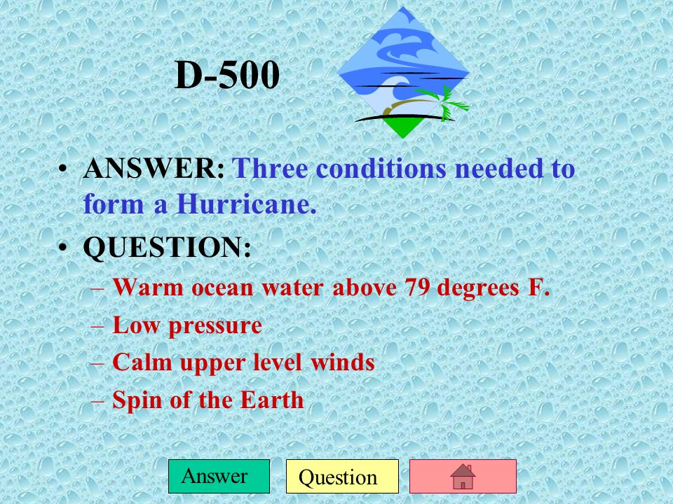 Question Answer D-400 ANSWER: Mr. Schulman hears that there is a chance of flooding in his area due to a storm surge. He lives in a low- lying area an
