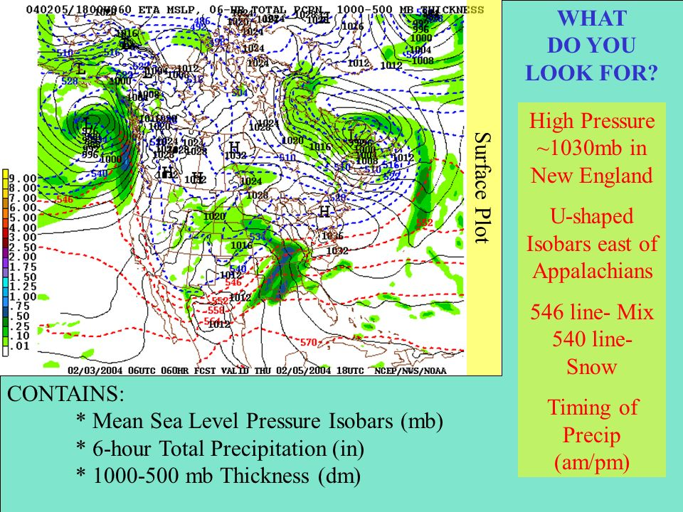 Surface Plot CONTAINS: * Mean Sea Level Pressure Isobars (mb) * 6-hour Total Precipitation (in) * 1000-500 mb Thickness (dm) WHAT DO YOU LOOK FOR.