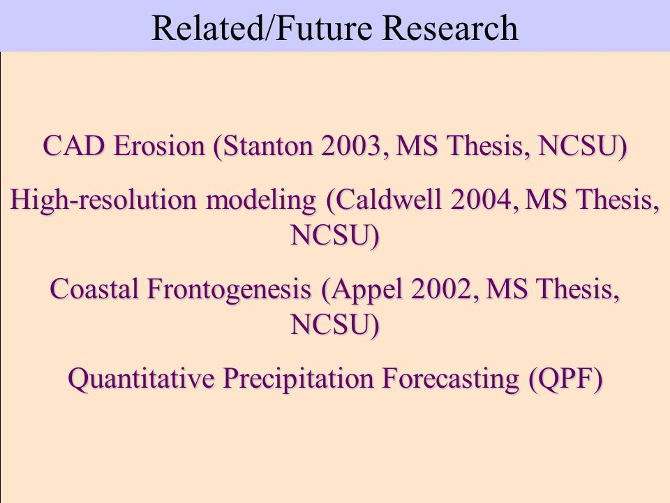 Related/Future Research CAD Erosion (Stanton 2003, MS Thesis, NCSU) High-resolution modeling (Caldwell 2004, MS Thesis, NCSU) Coastal Frontogenesis (A
