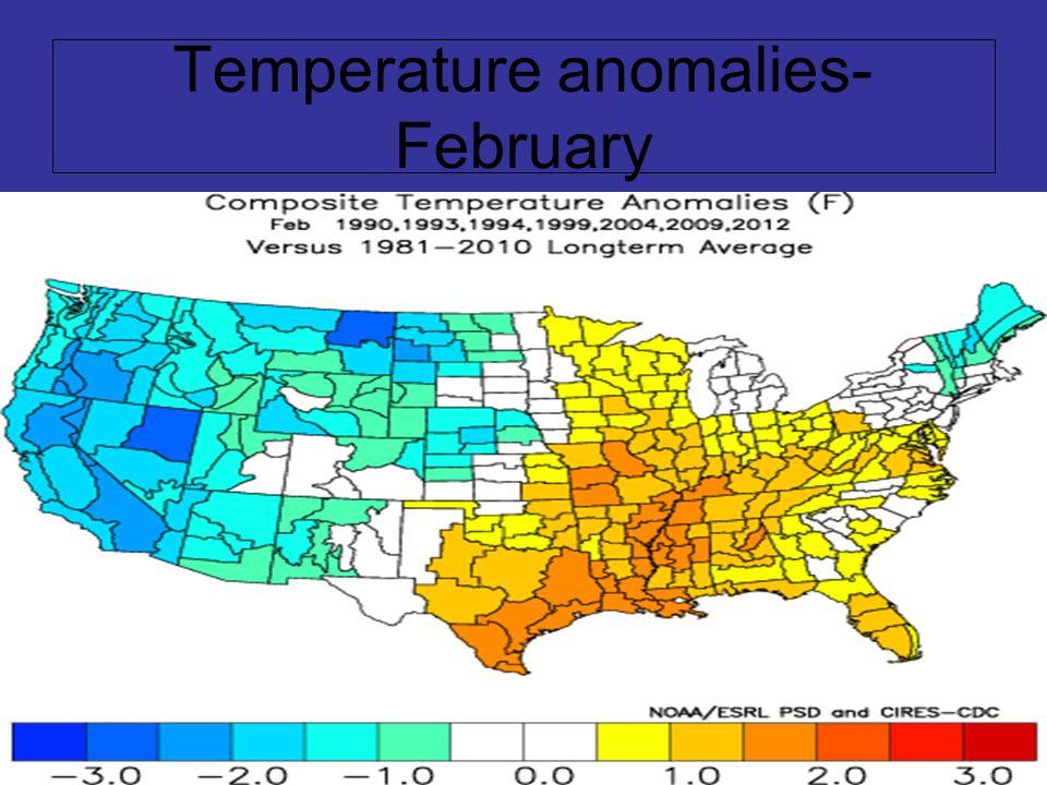 Temperature anomalies- February