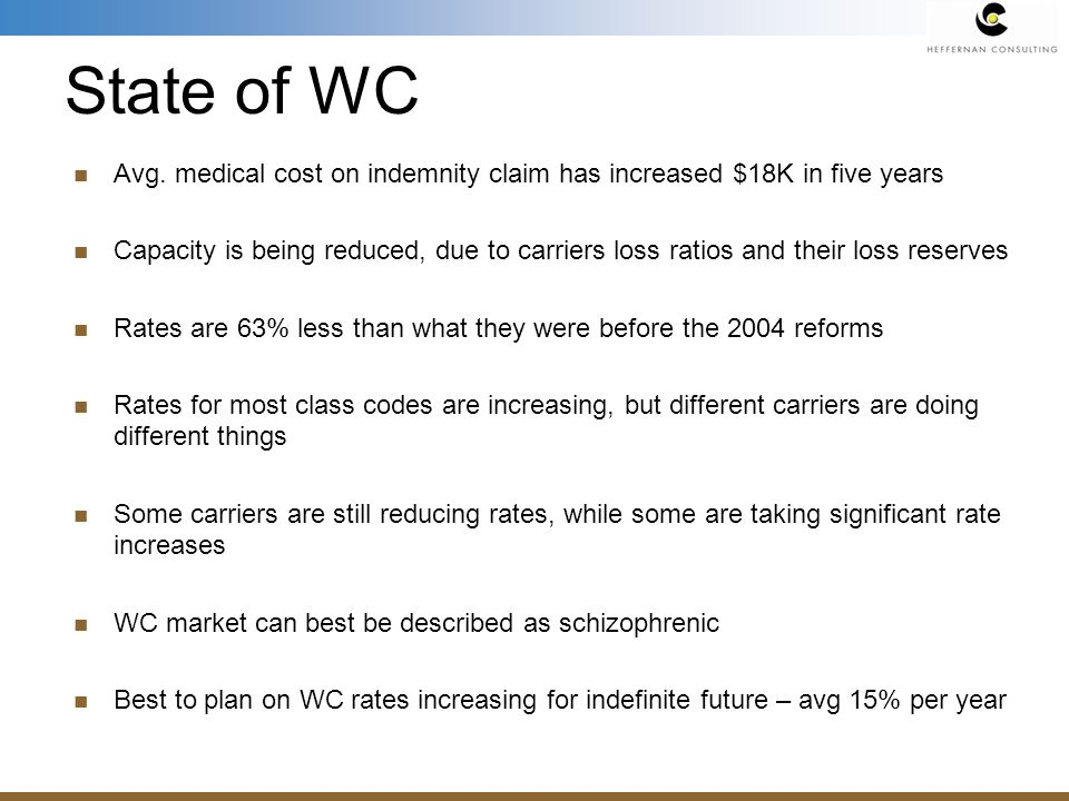 Avg. medical cost on indemnity claim has increased $18K in five years Capacity is being reduced, due to carriers loss ratios and their loss reserves R