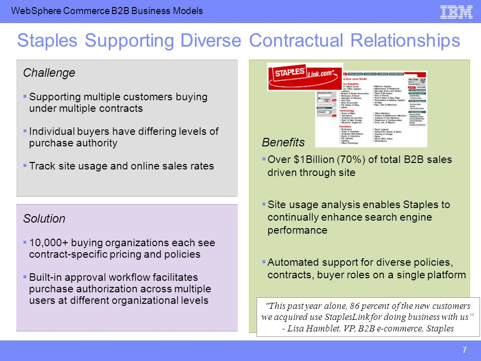 WebSphere Commerce B2B Business Models 7 Staples Supporting Diverse Contractual Relationships Challenge Supporting multiple customers buying under multiple contracts Individual buyers have differing levels of purchase authority Track site usage and online sales rates Solution 10,000+ buying organizations each see contract-specific pricing and policies Built-in approval workflow facilitates purchase authorization across multiple users at different organizational levels Benefits Over $1Billion (70%) of total B2B sales driven through site Site usage analysis enables Staples to continually enhance search engine performance Automated support for diverse policies, contracts, buyer roles on a single platform This past year alone, 86 percent of the new customers we acquired use StaplesLink for doing business with us - Lisa Hamblet, VP, B2B e-commerce, Staples