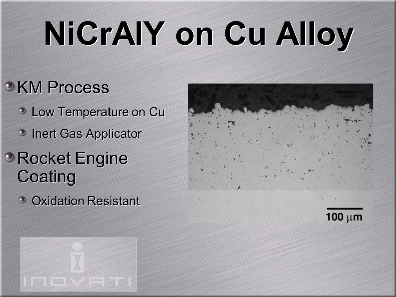 NiCrAlY on Cu Alloy KM Process Low Temperature on Cu Inert Gas Applicator Rocket Engine Coating Oxidation Resistant KM Process Low Temperature on Cu I