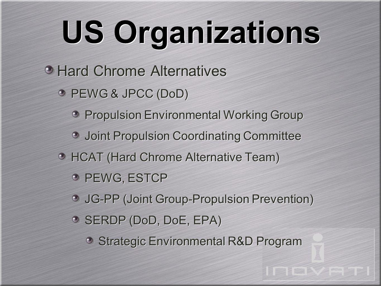 US Organizations Hard Chrome Alternatives PEWG & JPCC (DoD) Propulsion Environmental Working Group Joint Propulsion Coordinating Committee HCAT (Hard