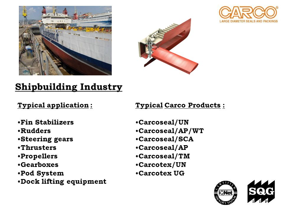 Shipbuilding Industry Typical Carco Products : Carcoseal/UN Carcoseal/AP/WT Carcoseal/SCA Carcoseal/AP Carcoseal/TM Carcotex/UN Carcotex UG Typical ap