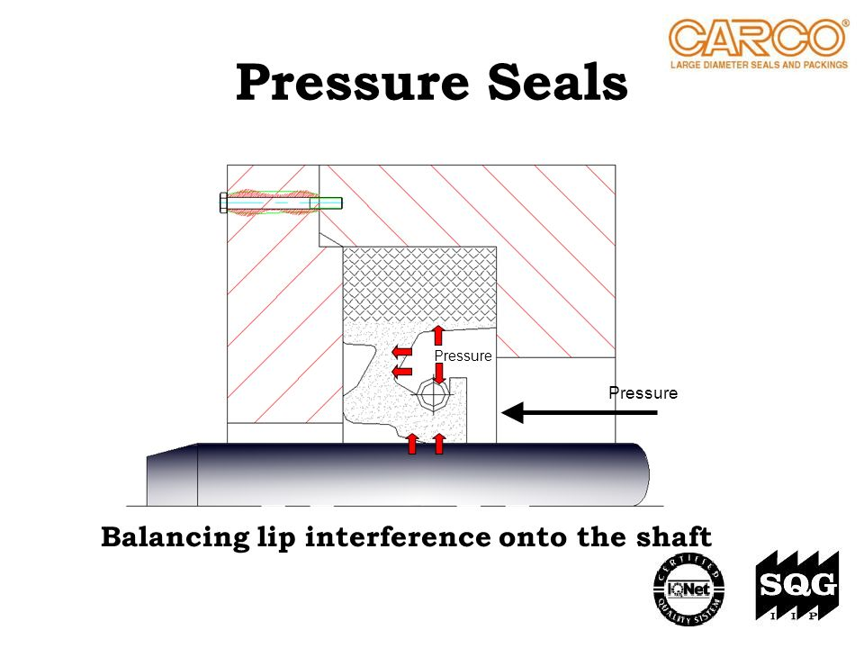 Pressure Seals Pressure Balancing lip interference onto the shaft