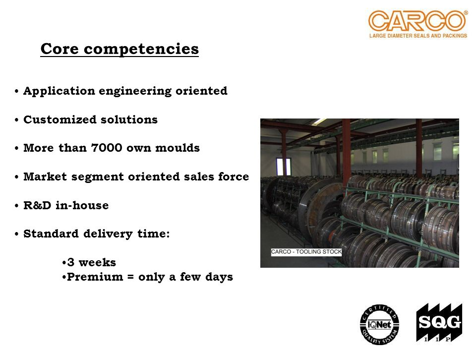 Core competencies Application engineering oriented Customized solutions More than 7000 own moulds Market segment oriented sales force R&D in-house Sta