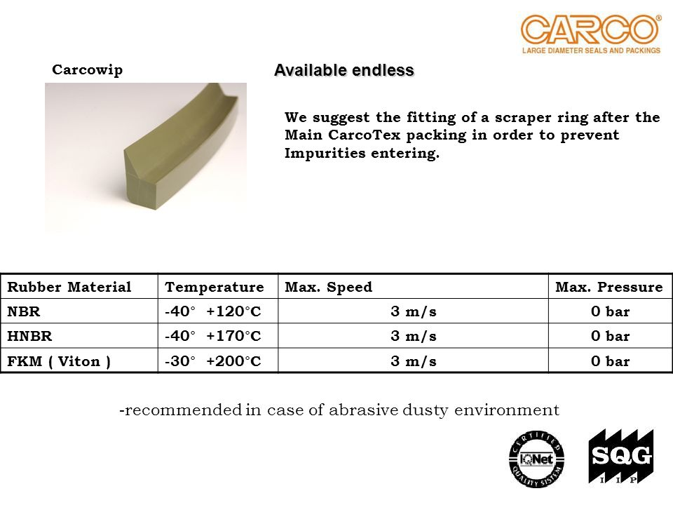 - recommended in case of abrasive dusty environment Carcowip Rubber MaterialTemperatureMax. SpeedMax. Pressure NBR-40° +120°C3 m/s0 bar HNBR-40° +170°
