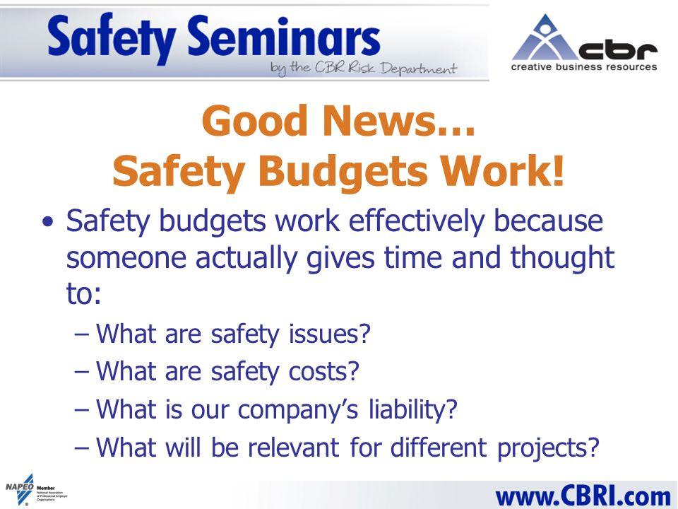 Good News… Safety Budgets Work.
