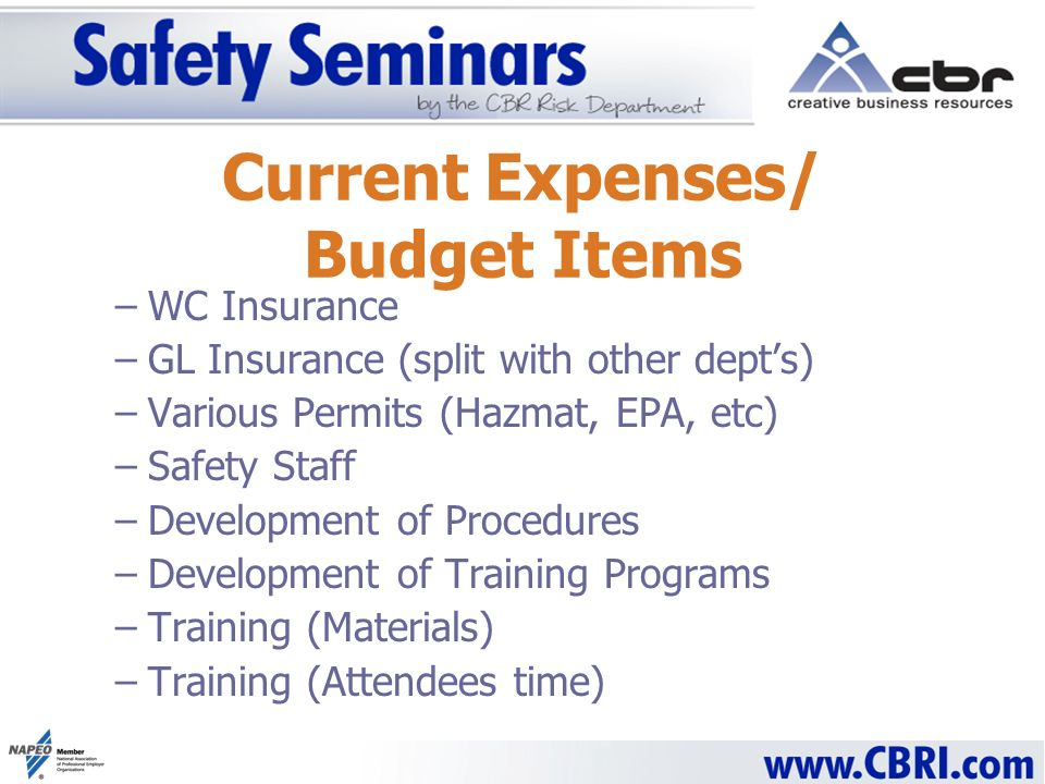 Current Expenses/ Budget Items –WC Insurance –GL Insurance (split with other depts) –Various Permits (Hazmat, EPA, etc) –Safety Staff –Development of