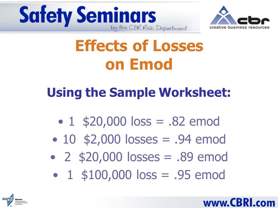 Effects of Losses on Emod Using the Sample Worksheet: 1 $20,000 loss =.82 emod 10 $2,000 losses =.94 emod 2 $20,000 losses =.89 emod 1 $100,000 loss =.95 emod