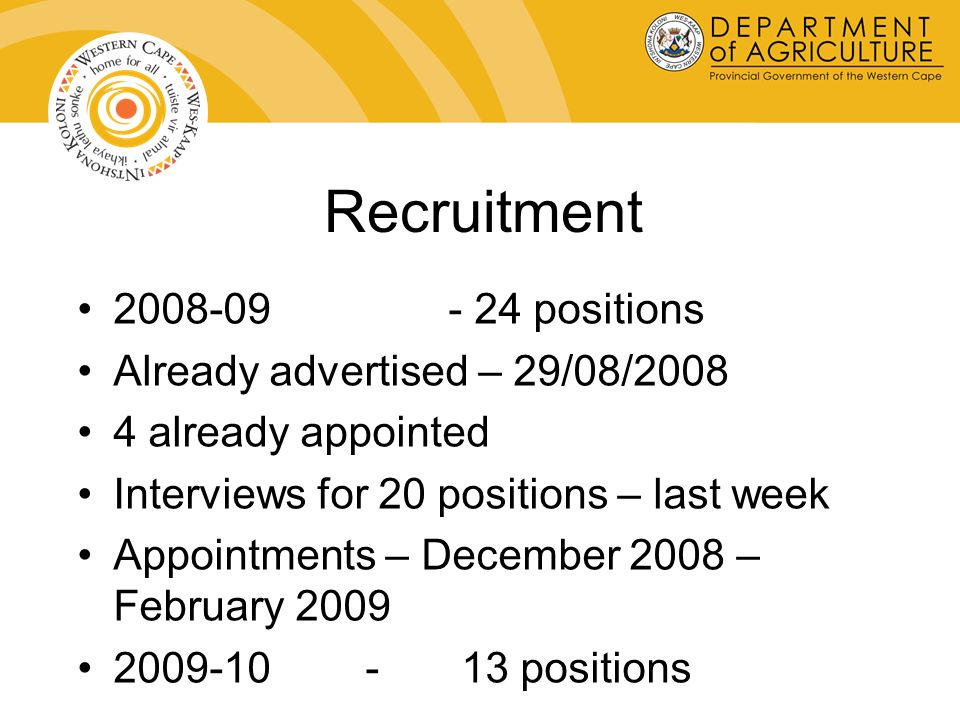 Recruitment 2008-09 - 24 positions Already advertised – 29/08/2008 4 already appointed Interviews for 20 positions – last week Appointments – December 2008 – February 2009 2009-10 -13 positions