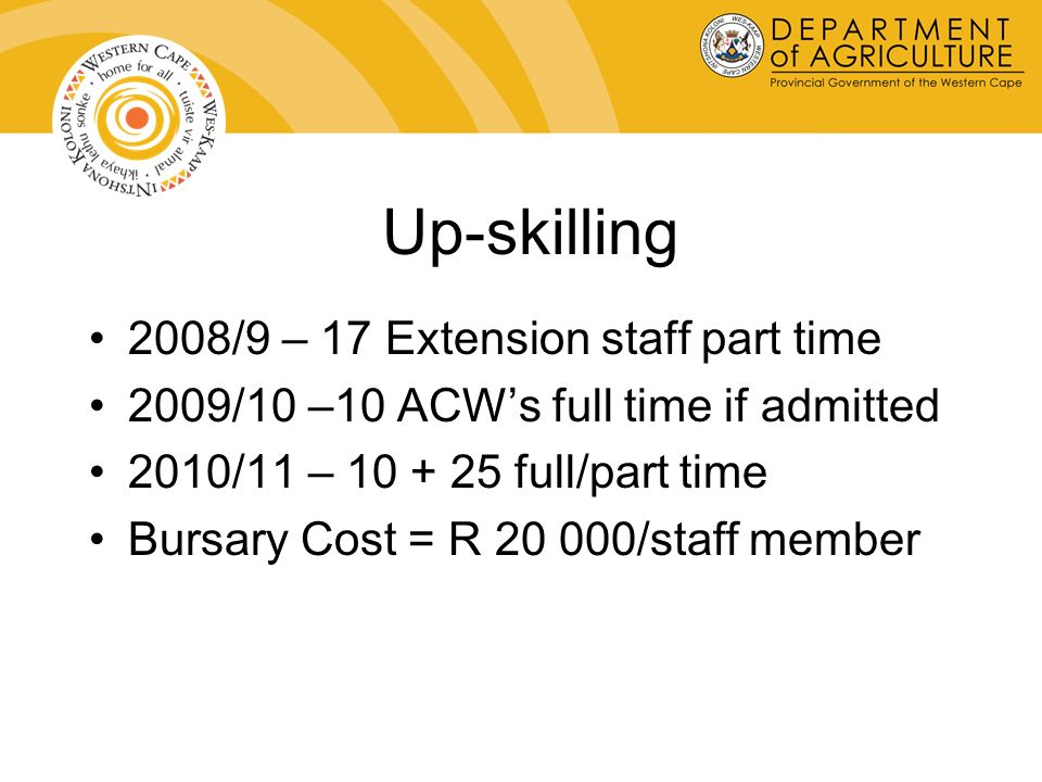 Up-skilling 2008/9 – 17 Extension staff part time 2009/10 –10 ACWs full time if admitted 2010/11 – 10 + 25 full/part time Bursary Cost = R 20 000/staff member