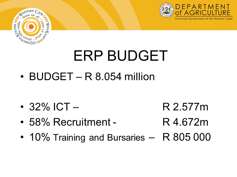 ERP BUDGET BUDGET – R 8.054 million 32% ICT – R 2.577m 58% Recruitment - R 4.672m 10% Training and Bursaries – R 805 000