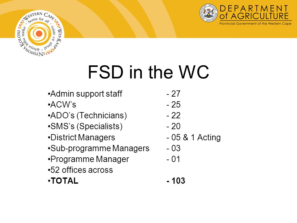 FSD in the WC Admin support staff- 27 ACWs - 25 ADOs (Technicians)- 22 SMSs (Specialists)- 20 District Managers- 05 & 1 Acting Sub-programme Managers- 03 Programme Manager- 01 52 offices across TOTAL - 103