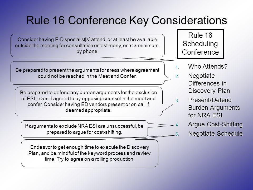 Rule 16 Conference Key Considerations Rule 16 SchedulingConference 1. Who Attends? 2. Negotiate Differences in Discovery Plan 3. Present/Defend Burden